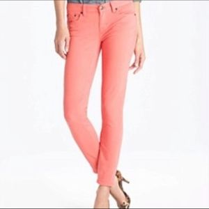 J. Crew Toothpick Ankle Jean Neon Persimmon Orange